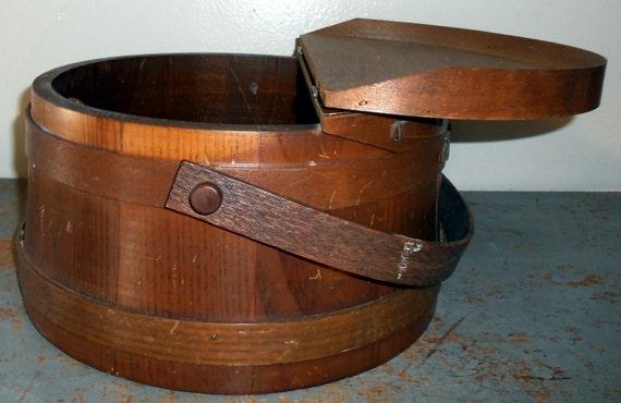 Knitting Basket With Handles : Vintage sewing box knitting wood basket