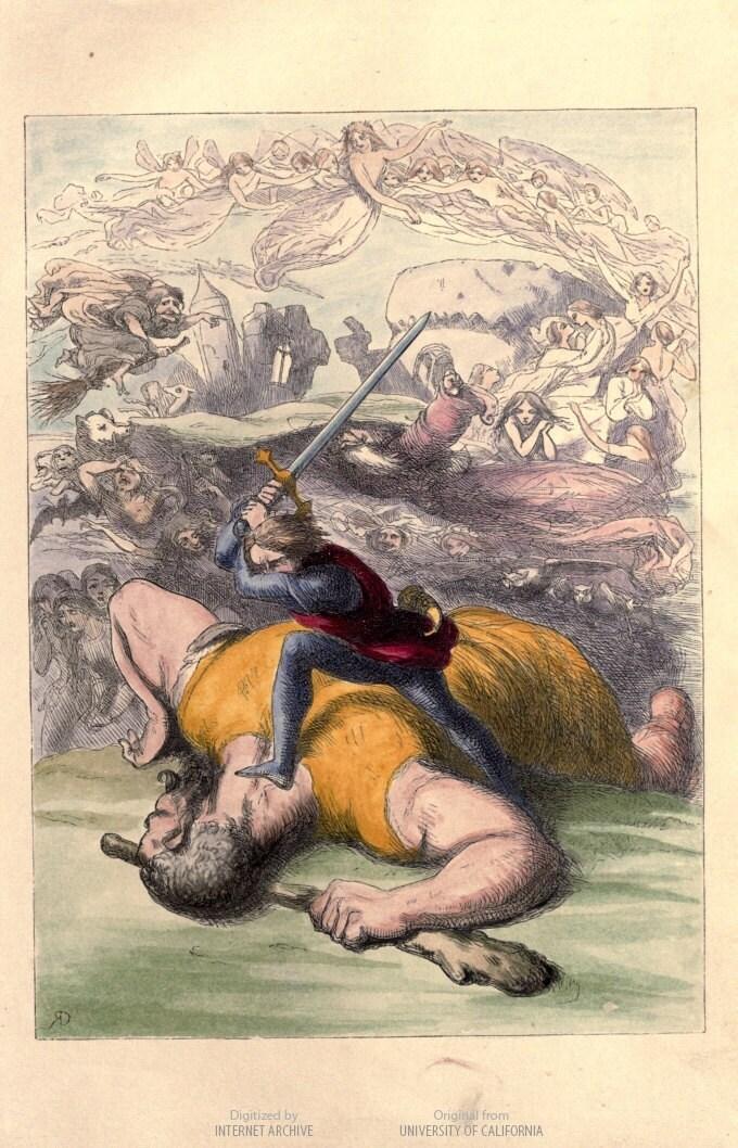David and Goliath. Vintage Image Children's Art
