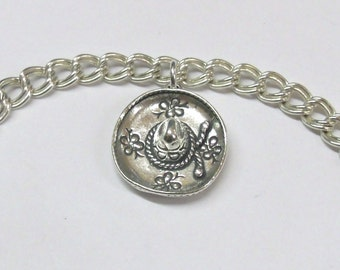 Sterling Silver Sombrero Charm on a Silver Traditional Double Link Charm Bracelet-0319