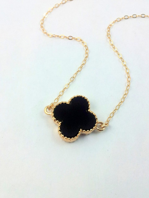 clover necklace blaack gold filled womens lucky four leaf