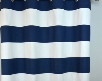 Navy White Horizontal Stripe Curtains - Cabana Grommet Top - 84 96 108 or 120 Long by 24 or 50 Wide - Optional Blackout Cotton Lining