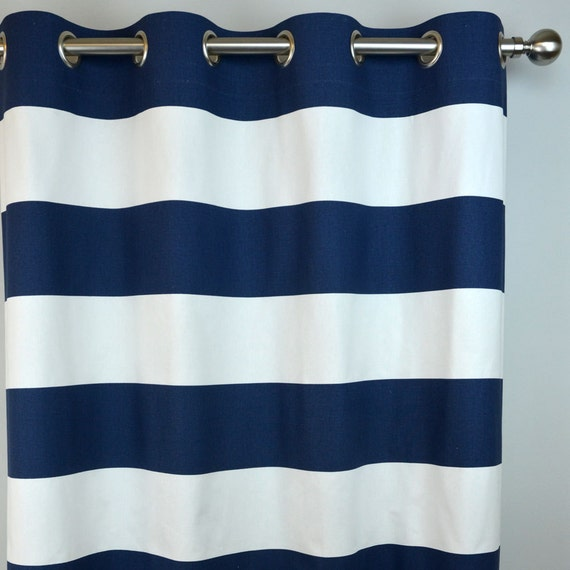 Vinyl Bathroom Window Curtains Navy and White Striped Top