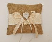 Rustic Wedding Ring Pillow Burlap & Lace, Pearl Clay Heart, Ring Cushion, Rustic Wedding, Hessian, Natural Fabric PERSONALISE HEART