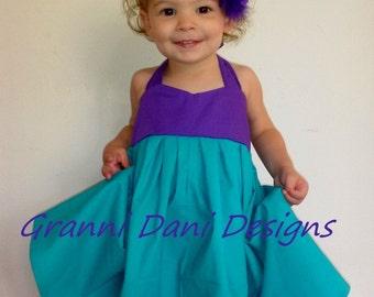 Ariel little mermaid inspired halter twirl dress 6 12 18 24 months 2T 3T 4T 5T  baby toddler girl princess everyday basic tourqoise purple