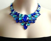blue bib necklace - royal blue and aquamarine statement necklace, bridal necklace, prom, wedding necklace gift or for you NEW