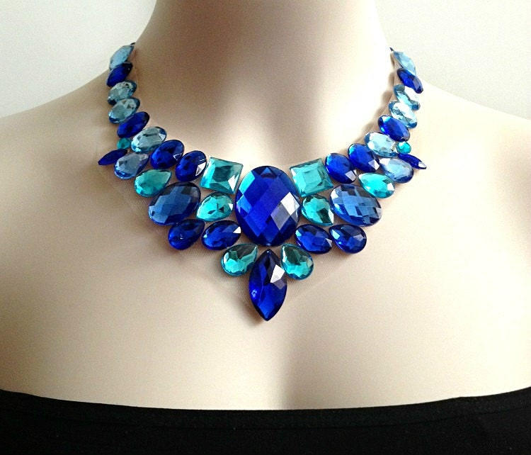 blue bib necklace royal blue and aquamarine statement