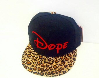 Cheetah Leopard Snapback Animal Print Dope Red Flat Bill Black Hat Snap Back
