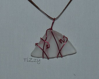 White Beach Glass w/ Pink Wire Wrapped Necklace Pendant