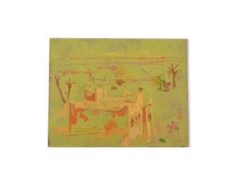 Vintage Desert Oil Painting
