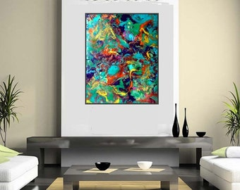 BIG Abstract Art! Extra Large Unstretched Canvas Giclee Print of Original Resin Art Paintingg by Jane Biven. Contemporary Abstract Giclee