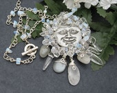 Moonstone Necklace Man in the Moon, Moonstone Semi Precious Stones, Quartz Crystals, Pewter, Whimsical, Wire Wrapped, Silver Wire, Handmade