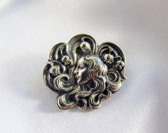 Art Nouveau Lady and Lily of the Valley Silverplate Brooch Antique Floral Symbolic of the Return of Happiness and Reunion