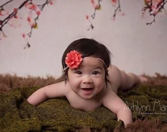 MINI Coral Baby Headbands, Newborn Headband, Coral Headband, Spring Headbands, Headbands Babies, Headbands Baby, Babies Headbands