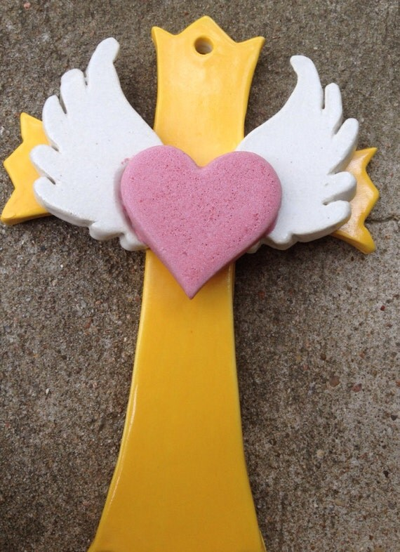 Handmade Yellow Winged Heart Wall Cross
