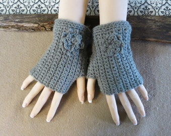 Wrist Warmers, Crochet Fingerless Gloves, Dark Grey Arm Warmers, Crochet Flower, Wool Mittens, Australia, Nchanted Gifts