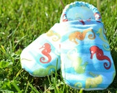 Seahorse Shoes-Custom made, any size, Crib Shoes, Soft soled shoes, Booties, Gender Neutral, Baby, Toddler, Walking