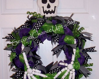 Halloween Deco Mesh Wreath 24 inch large Holiday Decor Outdoor Wreath October Mesh Wreath Door Decoration Ghosts Witches Goblins Spooky