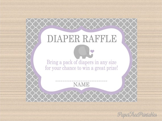 elephant baby shower digital diaper raffle tickets grey and lavender