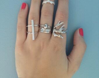 Coral Branch Sterling Silver Ring, handmade