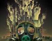 Gas mask (Digital matte painting) Digital print