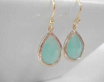 Classic Teardrops Mint Bezel Set Earring Gold Bezel, Sparkly Green Drop Dangle