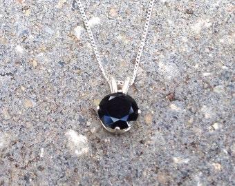 8 mm Black Spinel Sterling Silver Necklace, Bridesmaids Gifts, Black Diamond Alternative