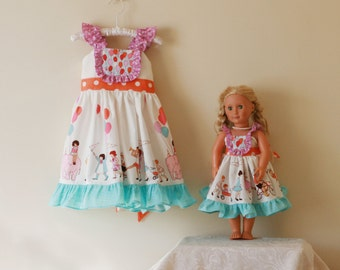 """Doll Balloon Flutter Sleeve Party Dress or Choose your own fabrics- 18"""" or 15"""" doll"""