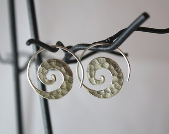 Hammered Spiral Sterling Silver Earrings