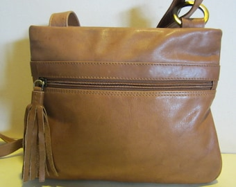 Lovely vintage tan  leather cross over bag, with very long strap; near mint,