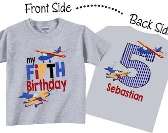5th Birthday Shirts with Airplanes, Planes Fifth Birthday Tshirts Tees
