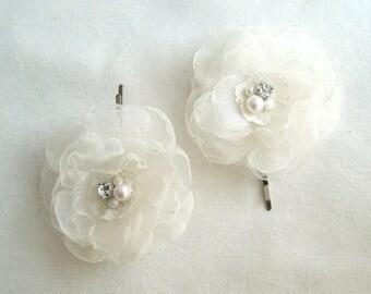 Weddings Hair Accessories Ivory White Flower Bobby Pins Bridal Hair Pins Flower Girl Hair Clips Bridesmaid Hair Accessories Rhinestone Pearl