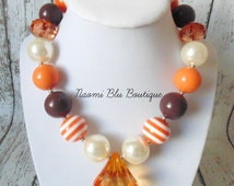 Fall Halloween Thanksgiving Inspired Chunky Bubblegum Bead Necklace. Photography Photo prop. Birthday. Accessory. Family Photo