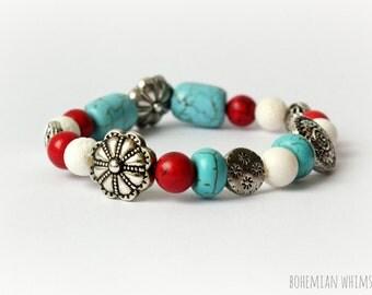 Red White and Boho Blue Handmade Bead Bracelet  - Boho Summer