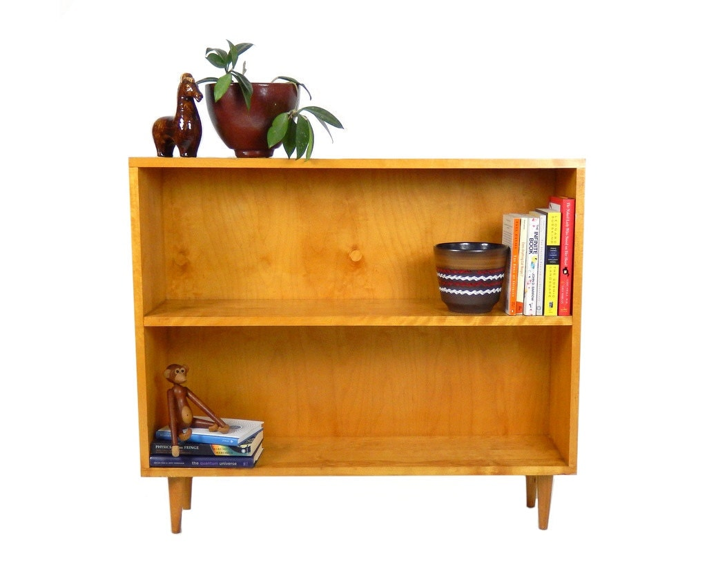 mid century modern bookcase pine wood shelf by stonesoupology. Black Bedroom Furniture Sets. Home Design Ideas