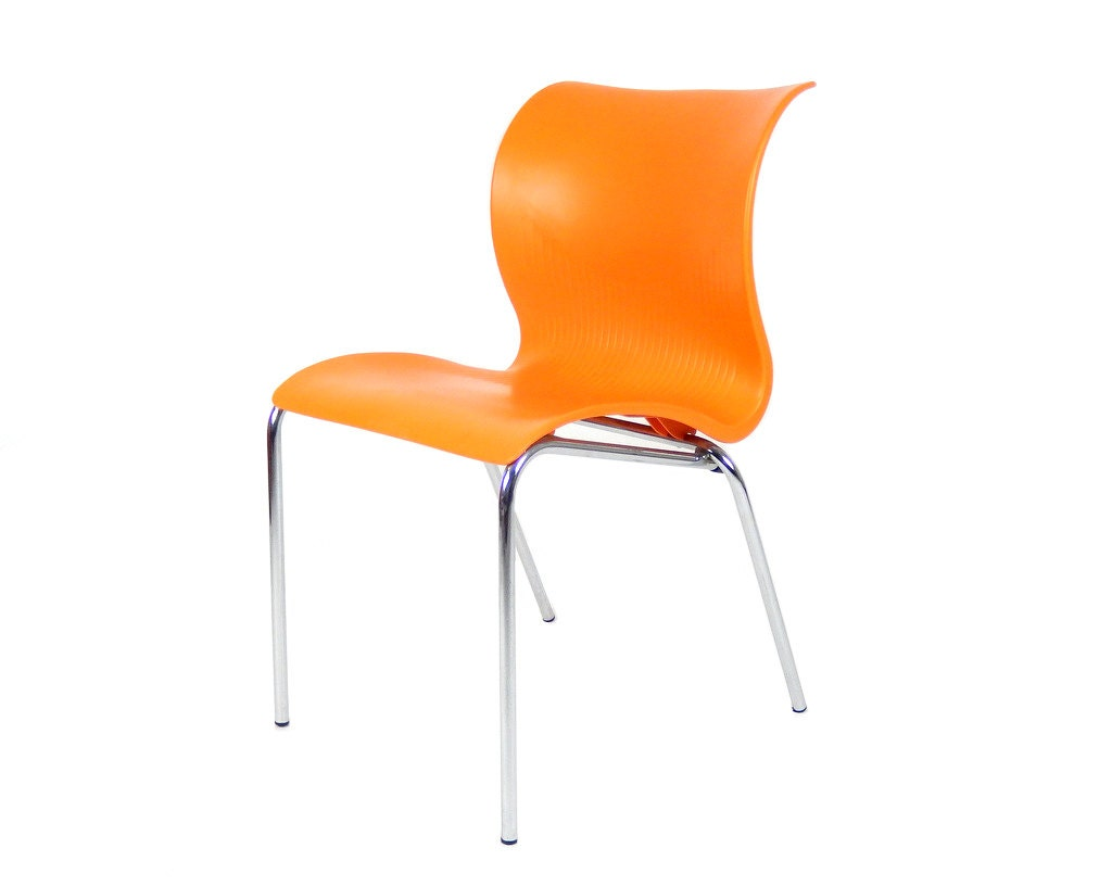 Mid Century Modern Orange Plastic Chair Made in Italy Italian
