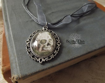 Skull Necklace Gothic Jewelry Skull Cameo Tribal Skull Art Pendant with Silver Ribbon Necklace