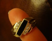 Mens Ring 10k Diamond & Black Onyx Ring Gold Gift Guy Gift Mans Size 11.5 Jewelry Jewels Outdoorsman Hunting Fishing Mens Gift size 11 1/2