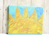 Yellow Sun Painting, 8 x 10 Sun Art, Acrylic Painting Canvas Art