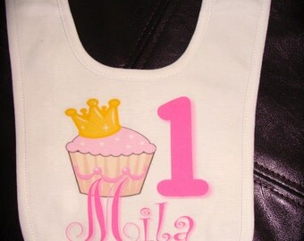 Personalized Cupcake Birthday Bib for baby girl gift novelty birthday