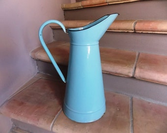 Vintage french enamelled pot sky blue cottage chic shabby