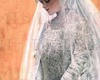 Enchanting Edwardian Bridal Gown. VINTAGE Bride Illustration.Edwardian Wedding Gown DIGITAL Download.