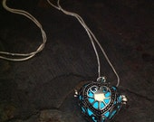 Silver Glow Pendant Scorpion Heart Locket in Aqua or Green