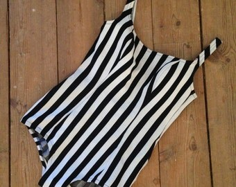 """Vintage Swimsuit from Holland """"Tweka""""  / Small / 1960's stripes black and white One Piece"""