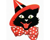 Halloween Cat Fabric Block - Black Cat in Witch's Hat - Three Color Choices