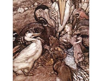 Alice in Wonderland Fabric Block - Dodo and Caucus Race - Arthur Rackham