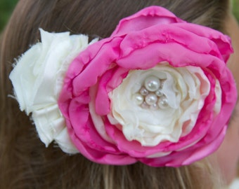 wedding flower girl hair piece clip ivory bright hot pink vintage lace photo prop bridesmaid pearl hair clip fabric bridal fascinator flower