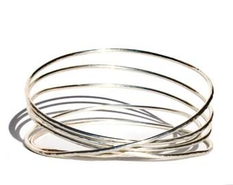 Sterling Silver Stack of Bangles Bracelet