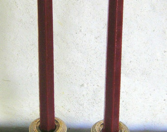 Pair Beeswax Hexagonal Burgundy Red Christmas Taper Candles Hand Crafted By The Beekeeper