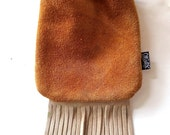 LoopyQ Peanut Butter Buttercream Hybrid Fringe Suede Leather Medicine Pouch, Hip Bag, FannyPack with Earthy Wood Bead