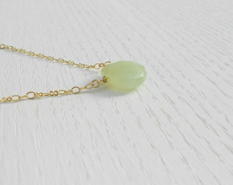 Jade and gold necklace, Green jade pendant, Green jade necklace, Drop necklace